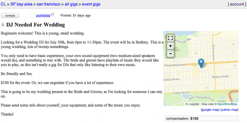 Why not Craigslist?