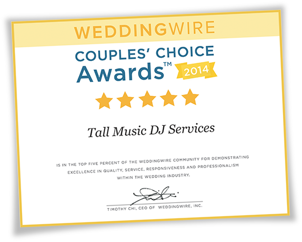 Wedding Wire Couple's Choice Awards 2014 Certificate