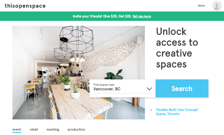Awesome new event-space rental website